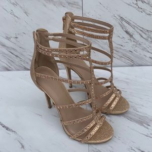 Charlotte Russe Rose Gold Glitter Heels. Sz 8 S900